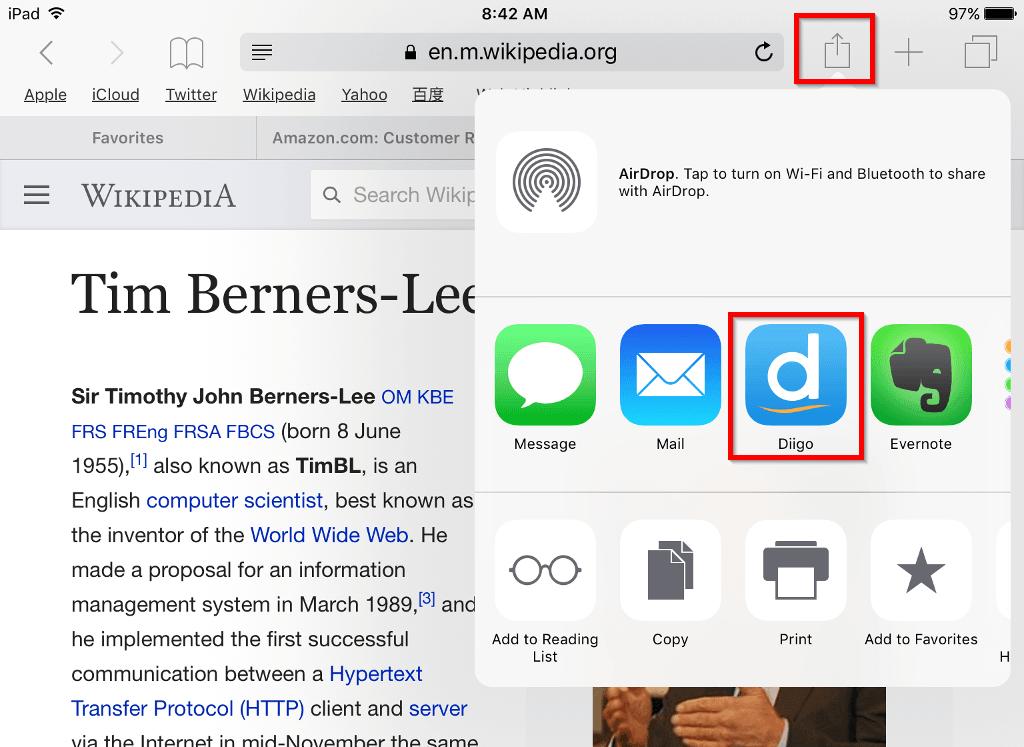 Diigo bookmarking on iOS.