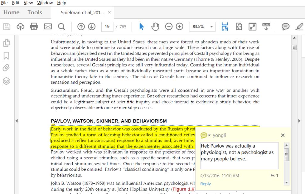 Adobe Acrobat Reader PDF annotations
