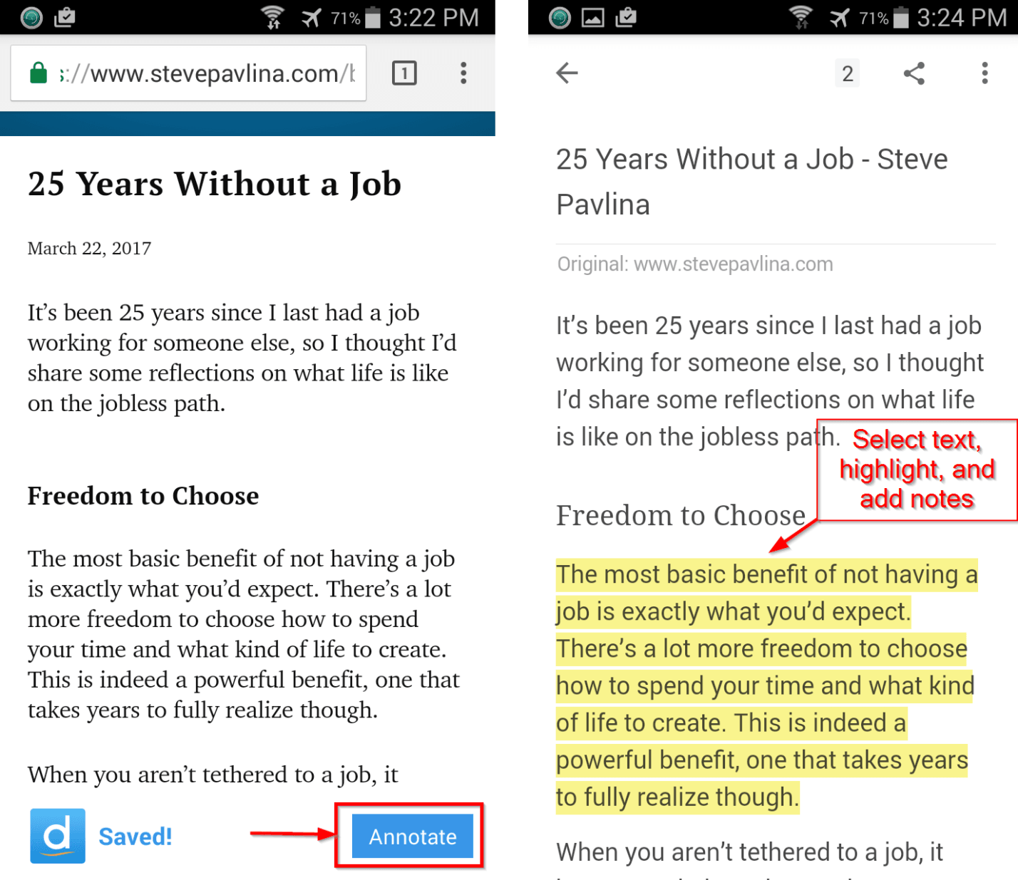 Highlighting and annotating with Diigo on Android