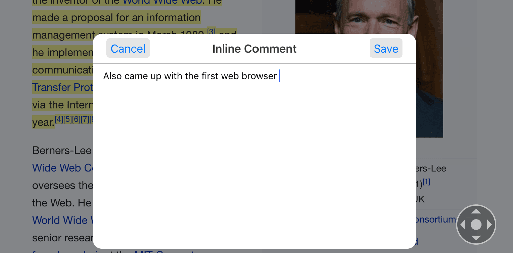 Adding comments to web pages in iOS with Diigo.