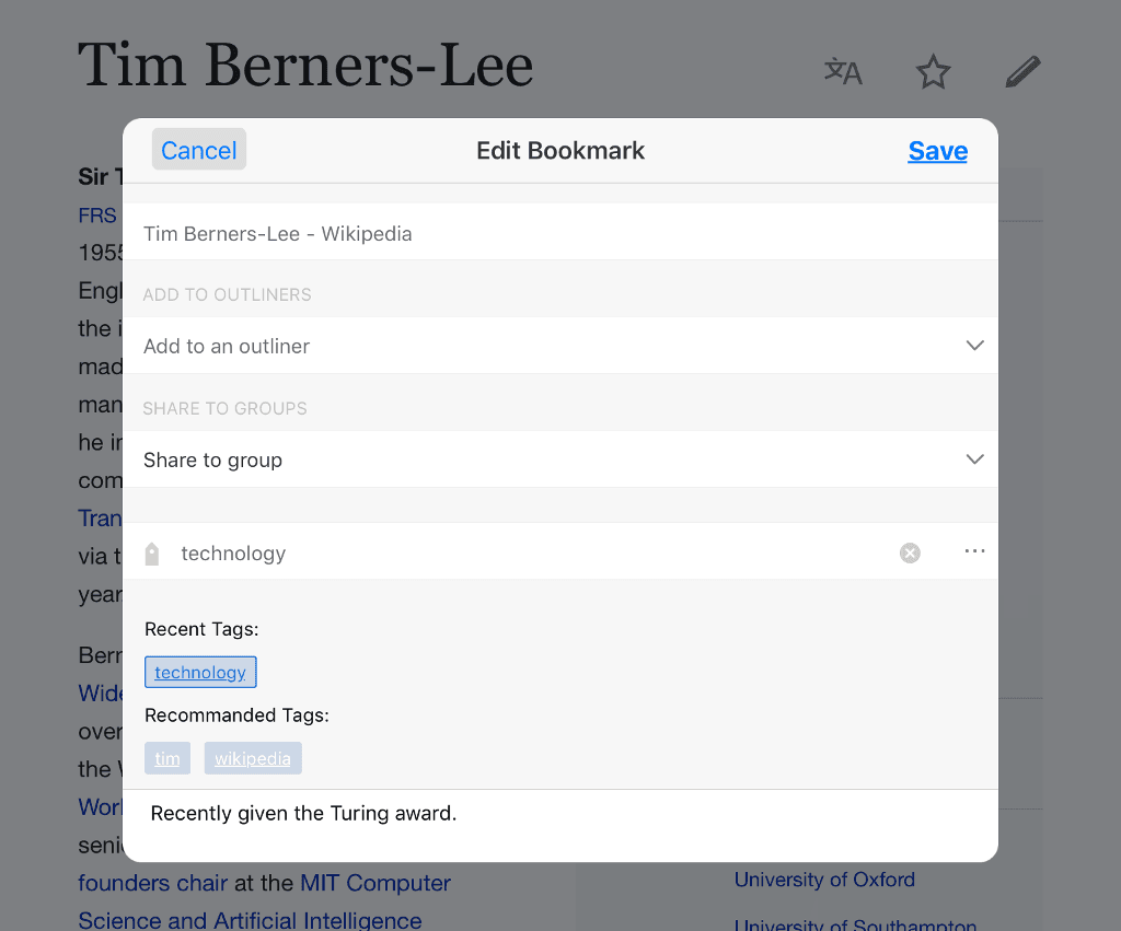 Bookmarking and tagging web pages on iOS.